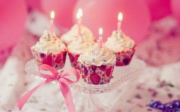 свечи, сладкое, день рождения, пирожное, свечки, кексы, кексики