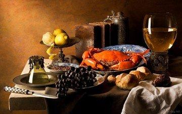 орехи, виноград, еда, стол, бокал, вино, нож, салфетка, краб, обед, натюрморт, лимоны, цедра, графин