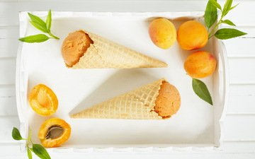 мороженое, фрукты, листики, сладкое, абрикосы, вафельный рожок, скадкое