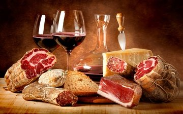 сыр, вино, мясо, красное, колбаса, салями, копчености