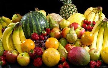 виноград, фрукты, яблоки, апельсины, клубника, арбуз, ягоды, бананы, ананас, груши, дыня, манго