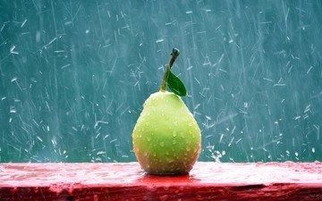 drops, fruit, rain, pear