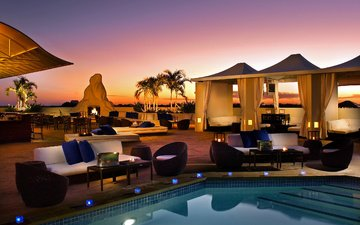 the evening, candles, cafe, fire, palm trees, pool, stay, furniture, tables, evening, gazebo, outdoor furniture