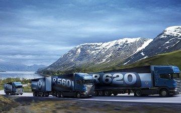 дорога, горы, скорость, движение, грузовик, v8, скания, r500, r560, прицепы, r620, тягачи