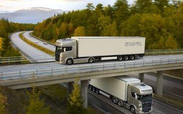 дорога, грузовик, тягач, скорости, scania trucks, скания, автодорога, r620, topline, мост., р620
