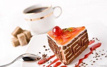 кофе, ягоды, шоколад, сладкое, сахар, торт, десерт, пирожное