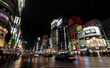 люди, япония, ночной город, улица, освещение, токио