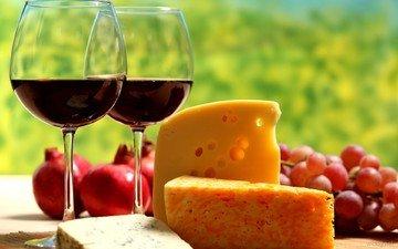 виноград, фрукты, стол, сыр, вино, бокалы, красное, гранат