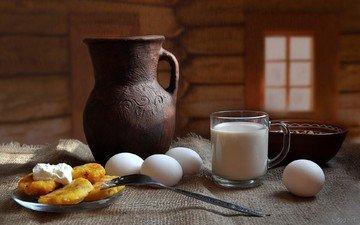 деревня, яйца, молоко, натюрморт, пища, сметана, композиция, крынка молока, яайца