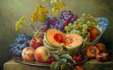 картина, виноград, фрукты, ягоды, вишня, овощи, персики, тыква, натюрморт, абрикосы, gabor toth