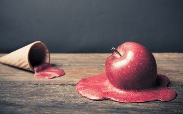 фон, мороженое, стол, креатив, яблоко, вафельный рожок