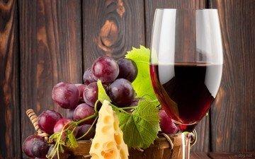 виноград, сыр, вино, красное вино, бокал вина
