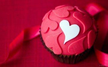 heart, love, cakes, dessert, glaze, cake, cupcake