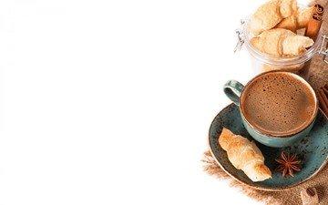 напиток, корица, кофе, блюдце, чашка, сахар, пенка, круассаны