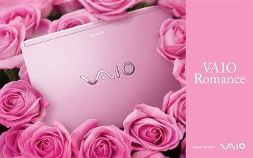 цветы, розы, hi-tech, сони, vaio, калькулятор