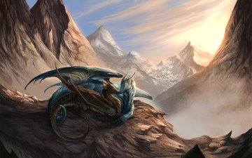 light, mountains, snow, pair, dragons, f
