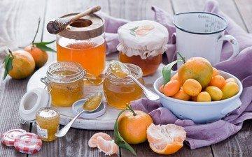 фрукты, джем, мандарины, натюрморт, цитрусы, абрикосы, варенье, баночки, кумкваты