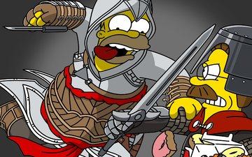 мультфильм, рыцари, симпсоны, гомер симпсон, нед фландерс, фландерс