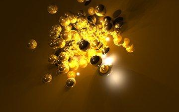 свет, шары, абстракция, фон, шарики, поверхность