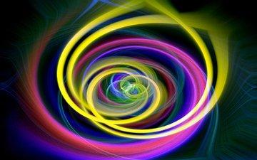 свет, абстракция, линии, узор, цвет, графика, спираль, кольца, фрактал, вихрь