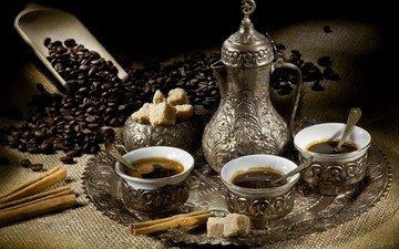 напиток, корица, кофе, кофейные зерна, чашки, сахар, поднос, совок, кофейник
