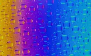 свет, капли, цвет, радуга, стекло, пузырьки