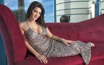 dress, chest, actress, sofa, neckline, bollywood, sunny leone
