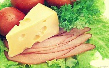 зелень, сыр, овощи, мясо, укроп, помидоры, петрушка, листья салата, нарезка
