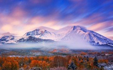 небо, горы, снег, лес, утро, осень