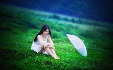 трава, девушка, лето, дождь, зонт, зонтик, азиатка