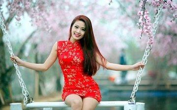девушка, поза, улыбка, взгляд, сад, фигура, качели, азиатка, длинные волосы