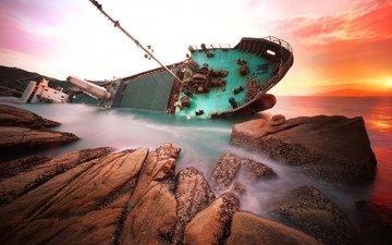 water, sunset, ship