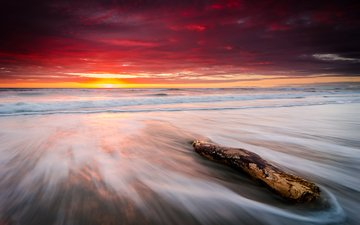 небо, камни, пляж, горизонт, рассвет, океан, новая зеландия