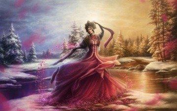 lake, forest, girl, dress, petals, mara
