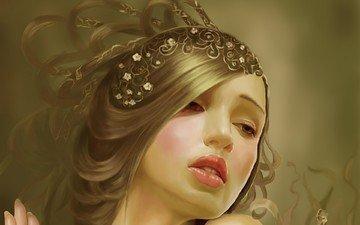 art, decoration, girl, fantasy, hair, face, tang yuehui