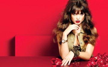 girl, model, makeup, brown hair, sandra hellberg