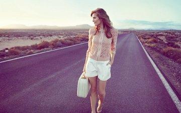 road, girl, model, walk, suitcase, adela capova, adela kapova