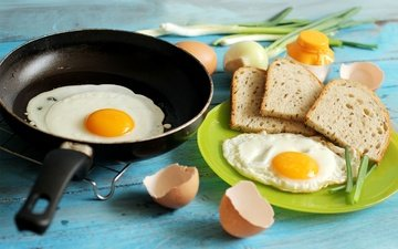 еда, лук, хлеб, завтрак, яйца, скорлупа, яичница, сковорода