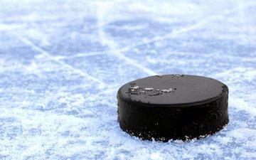 полосы, хоккей, лёд, черная, шайба, на, от, льду