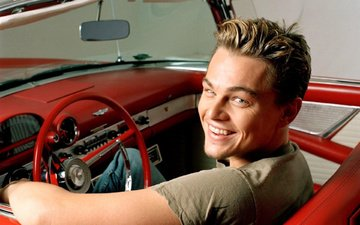 smile, actor, car, leonardo dicaprio