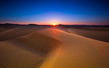 небо, солнце, закат, песок, горизонт, пустыня, дюны