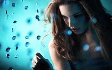 свет, девушка, синий, блондинка, пузыри, женщины, губы, мыльные пузыри, синий свет, женщин, блондинк