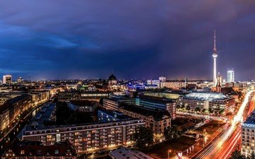 дорога, огни, панорама, город, дома, подсветка, здания, улицы, германия, выдержка, телебашня, берлин, столица, берлинский кафедральный собор, berliner dom
