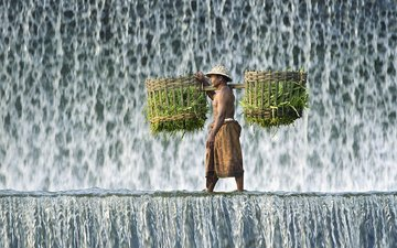 grass, waterfall, basket, male, headband, hat, indonesia, bali, straw