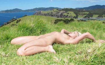 grass, girl, pose