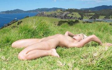 трава, девушка, поза