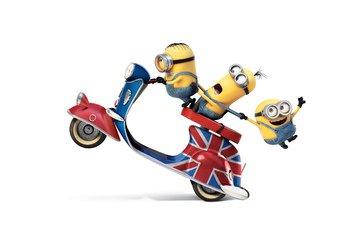 мультфильм, белый фон, желтые, персонажи, мотороллер, миньоны