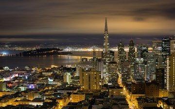 ночь, огни, небоскребы, сша, сан-франциско, калифорния, мосты, высотки, мостики, cityscapes, городские пейзажи, ноч, сан - франциско, калифорнийская