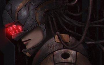 art, girl, helmet, cyborg