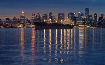 огни, вода, вечер, панорама, корабль, город, океан, ванкувер, канада, бухта